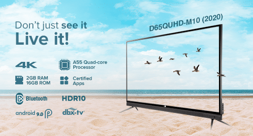 D65QUHD-M10 (2020) - 65 Inch 4k Smart LED TV with In-built Soundbar